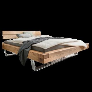 TPT Möbel GmbH Schwebebalkenbett V Wildeiche Massivholz geölt mit Kopfteilaufsatz II und verchromtem Untergestell Liegefläche wählbar