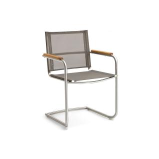 Niehoff Garden Nathalie Gartenstuhl G141 Schwingstuhl mit Armlehnen und Armauflagen in Teak Massivholz Stuhl mit Gestell aus Edelstahl gebürstet und Batyline Bespannung Farbe wählbar für Garten oder Terrasse