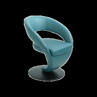 K+W Silaxx Essgruppe Wave 4130 sechsteilig bestehend aus einer Solobank mit einem exklusiven Echtlederbezug Bronco in der Farbe bianco 31 vier Drehsesseln aus der Modellreihe 6080 in vier unterschiedllichen Echtlederbezügen Bronco und einem Funktionstisch - Vorschau 3