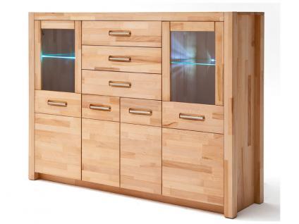 MCA Direkt Highboard Fenja für Wohnzimmer oder Esszimmer 2 Rahmentüren inklusive 2-er Glaskantenbeleuchtung