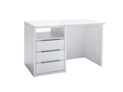 FORTE Opus Schreibtisch OPSB212L mit Arbeitsplatte ca. 140 x 67, 4 cm mit drei Schukästen und einem offenen Fach Arbeitstisch in wählbarem Dekor für Ihr Büro Arbeitszimmer oder Jugendzimmer
