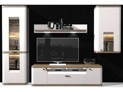 IDEAL-Möbel Wohnwand Toronto Kombination 12 mit Vitrine Hängeschrank und TV-Element Anbauwand für Wohnzimmer Ausführung wählbar