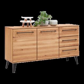 Niehoff Sideboard Easy 4904-39-000 aus Charakter-Eiche Massivholz mit schwarzen Metallgriffen ideal für Ihr Ess-oder Wohnzimmer