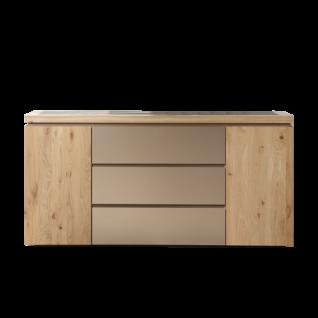 Thielemeyer Isola Kommode mit 2 Türen außen und 3 Schubkästen mittig Ausführung Wildeiche Massivholz und Parsolglas optional mit Hängeschrank