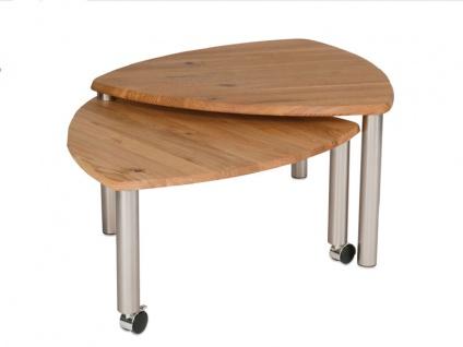 Vierhaus Couchtisch 4317 -WEIX mit zusätzlicher ausdrehbarer Tischplatte aus Massivholz in Wildeiche auf Rollen - Vorschau 2