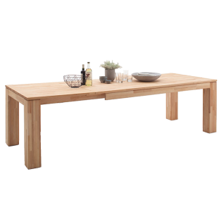MCA furniture Esstisch Nantes aus Massivholz Kernbuche geölt 4-Fuß Tisch ausziehbar in 3 Größen