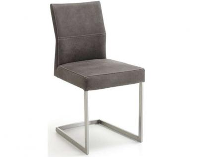 Niehoff Freischwinger 2471 Komfort Schwingstuhl Gestell Edelstahl gebürstet Bezug wählbar für Wohnzimmer und Esszimmer