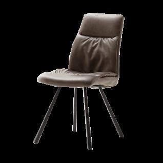 MCA furniture repräsentatives 2er Stuhlset Oxford in wählbarer Bezugsfarbe mit oder ohne Armlehnen wählbar mit anthrazit lackiertem Gestell konisch zulaufend ideal für Ihr Esszimmer