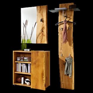 Skalik Meble Woodline Garderobe Garderobenpaneel mit Glasplatte Spiegel Kommode wählbar mit Hochschrank und Rollwagen Front und Korpus Eiche Massivholz geölt