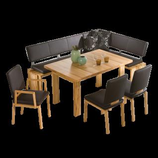 K+W Silaxx Essgruppe Monza 7940 fünfteilig bestehend aus drei Massivholzstühlen aus der Modellreihe 7888 einem Massivholztisch aus der Modellreihe 5116 und einer zweiteiligen Eckbank in einer natürlichen Ausführung in geölter Wildeiche bianco und mit eine