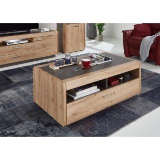 Ideal-Möbel Couchtisch Austin 72 mit vier Fächern und großem Schubkasten in moderner Holzoptik Dekor Eiche - Vorschau 2