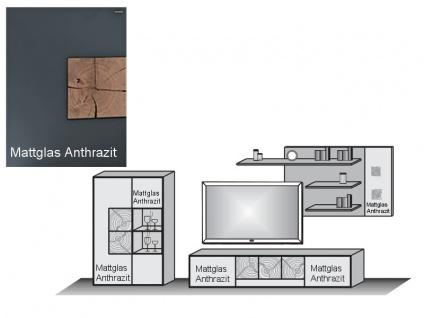 Hartmann Anbauwand 7170-24A oder 7170-24W Caya Wohnkombination mit Paneel-Wandregal Highboard mit Vitrine und TV-Element Front Mattglas in Weiss oder Anthrazit wählbar - Vorschau 5