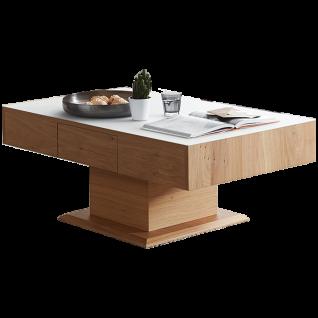 Schröder Kitzalm Solid Couchtisch in außen furnierter Kernasteiche natur gebürstet und Tischplattenauflage in Satinglas Snow und wählbarer Größe ideal für Ihr Wohnzimmer
