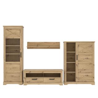 Forte Rockhampton Wohnwand 4-teilig für Ihr Wohnzimmer Wohnkombination mit Vitrine Lowboard Highboard und Wandboard Dekor Artisan Eiche