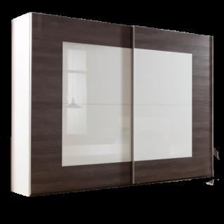 Nolte Möbel Novara Schwebetürenschrank Front in Eiche-Nachbildung dark chocolate mit Weißglas Korpus in Polarweiß Breite und Höhe wählbar optional mit Dämpfung