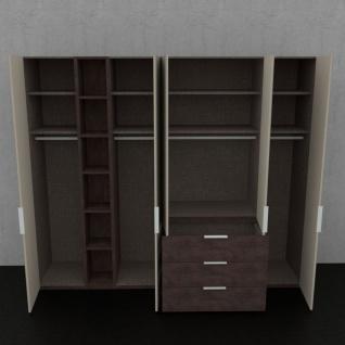 Nolte concept me 100 Kleiderschrank 5-türig 3 vorgezogenen Schubkästen offenem Regal Türen Glasauflage Fango Korpus Schubkästen Eiche-Nachbildung - Vorschau 3