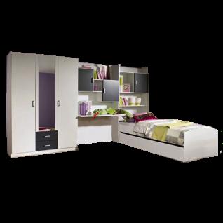 Rauch Packs Flow Jugendzimmer 5-teilig inkl. Drehtürenschrank Spiegel Schreibtisch Bettkastenschrank und Bett Farbausführung wählbar