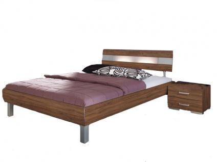 Rauch Select Gala Bett in Dekor-Druck Eiche Stirling mit Kopfteil mit Milchglaseinlage und Aluspangen und Eck-Füßen alufarben Liegefläche wählbar Nachttische optional