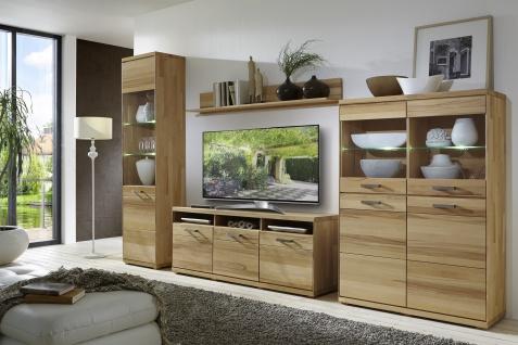 ELFO Wohnwand MIA Wildeiche oder Kernbuche Massivholz geölt Kombination aus TV-Unterteil 2 Vitrinen Wandboard komplett Möbel für Ihr Wohnzimmer oder Esszimmer