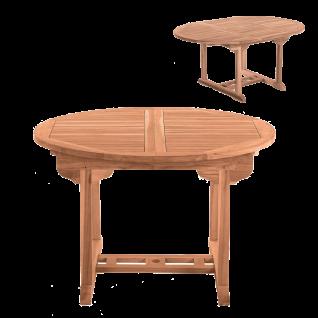 Möbilia Gartenmöbel stabiler runder Gartentisch ausziehbar Tisch aus Teakholz massiv für Garten und Terrasse