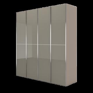 Nolte Möbel Marcato 2.2 Drehtürenschrank 4-türig Korpus in Terra matt Front in Fangoglas mit 3 waagerechten Sprossen und Griffleisten in chrom