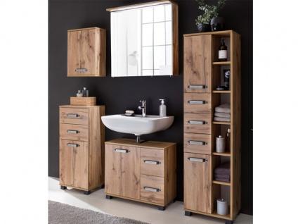 W. Schildmeyer Möbel Milan Badmöbel Set 5-tlg. für Badezimmer mit Spiegelschrank Highboard Waschbeckenunterschrank Hochschrank und Oberschrank