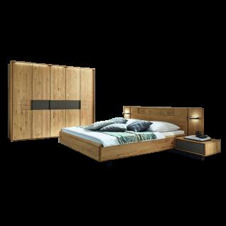Wöstmann WSM 1600 Schlafzimmer 2-teilig bestehend aus einem Bett mit Kopfteil Liegefläche wählbar inkl. 5-türigem Drehtürenschrank optional mit Passepartout Nachtkonsolen oder Paneelaufsatz mit Beleuchtung