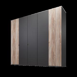 Nolte Möbel Cepina 5-türiger Drehtürenschrank Korpus und Mitteltüren in Basalt Außentüren in Picea pine optional mit Dämpfungsbeschlägen