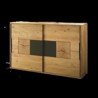 Wöstmann WSM 1600 Kommode mit 2 Schiebetüren inkl. Hirnholz- und Mattglas-Akzenten in der Ausführung Europ. Wildeiche Massivholz