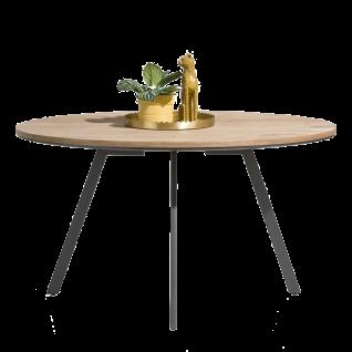 Habufa Turda Esstisch oval 40771 Tischplatte lackiert Furnier Kikar ca. 140 cm breit Metallgestell graphit