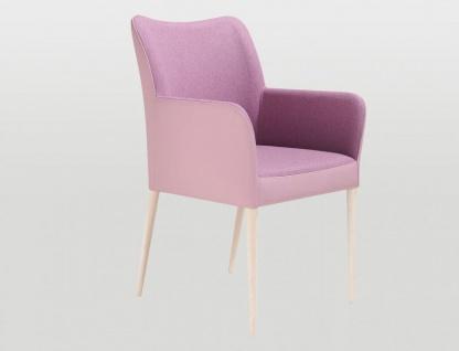 Bert Plantagie Spargo Wood Polsterstuhl mit Bi-Color Polsterung Stuhl mit Armlehnen für Esszimmer Gestellausführung und Bezug in Leder oder Stoff wählbar