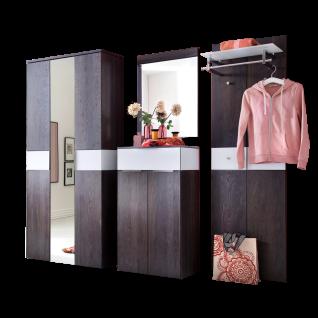Wittenbreder Novara Garderobenkombination Nr. 04 komplette Garderobe für Ihren Flur und Eingangsbereich 4-teilige Vorschlagskombination im Räuchereiche und Glas Weiß mattiert Griffe und Metallteile in Chrom