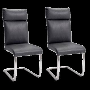MCA furniture Rabea Schwingstuhl 2er Set mit Gestell Flachrohr Edelstahl gebürstet und Bezug in Antiklook Ausführung wählbar