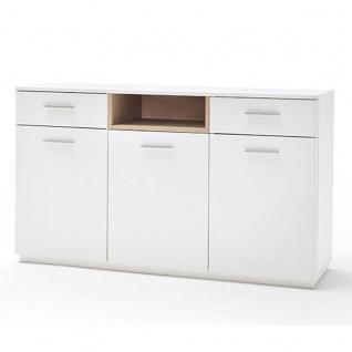 MCA furniture Cesina Sideboard Art.Nr. CES35T01 Front und Korpus weiß matt lackiert Absetzungen in Asteiche furniert geölt Kommode für Wohnzimmer oder Esszimmer