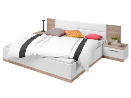 Schlafkontor Manhattan Bettanlage inklusive 2 Nachtkommoden mit Liegefläche ca. 180 x 200 cm Kopfteil gepolstert in Ecokunstleder Weiß