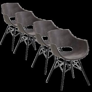 4x Stuhl Bodahl Jazz mit Kunststoffschale in Büffelleder anthrazit bezogen und schwarz lackierten Holzbeinen ideal für Ihr Esszimmer