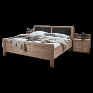 Wiemann Luxor 3&4 Komfortbett mit Bettkasten Kopfteilpolster und 2 Nachtschränken mit Paneel in Steineiche-Nachbildung Liegefläche wählbar