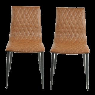 Sit Möbel SIT&CHAIRS 2er-Set Stühle mit Steppung Kunstleder Bezug braun Gestell schwarz