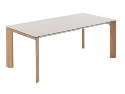 Calleo Esstisch 3240 von Wöstmann mit Gestell in europ. Wildeiche oder Kernbuche Massivholz und Tischplatte in Mattglas Tisch für Esszimmer Größe und Auszugsfunktion wählbar