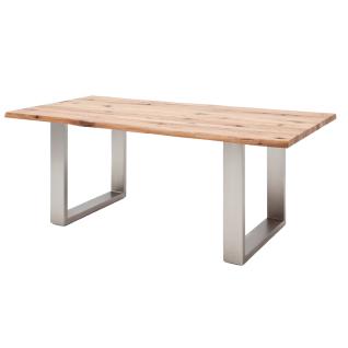 MCA furniture Matras Kufentisch mit Gebrauchsspuren Tischplatte Zerreiche Massivholz lackiert mit Baumkante ohne Auszug Gestell Edelstahl gebürstet Ausführung und Größe wählbar