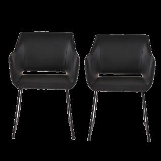 Sit Möbel Armlehnstuhl im 2er-Set Bezug schwarz Gestell Stahl schwarz