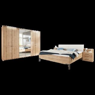 Wiemann Mexiko Schlafzimmer Futonbett 6-türiger Drehtürenschrank und Nachtkonsolen in Bianco-Eiche-Nachbildung Griffe und Winkelfüße in Schiefer