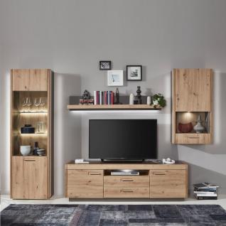 Ideal-Möbel Wohnwand Kombination Austin 52 bestehend aus Vitrine Wandregal Lowboard und Hängevitrine - Vorschau 3