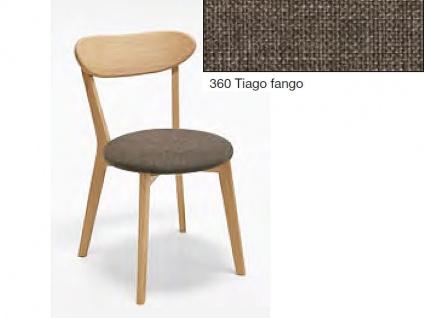 Niehoff Madison Stuhl 2141 2er-Set im Bezug 360 Tiago fango Polsterstuhl für Esszimmer mit Gestell und Rückenlehne aus Massivholz Ausführung wählbar