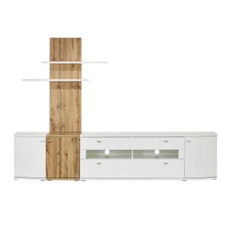 MCA Furniture Livorno LIV99W03 Wohnkombination 3 für Ihr Wohnzimmer 4-teilige Wohnwand Hochglanz weiß tiefzieh Nachbildung mit Absetzung Wontan Eiche