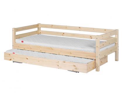 Kinderbett Classic Flexa Einzelbett 90x200 cm mit Ausziehbett hinterer Absturzsicherung Laufrollen Griffe Kiefer massiv Flexa4Dreams