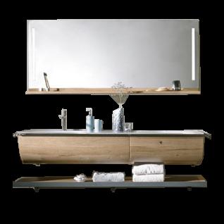 Voglauer V-Quell Badezimmer-Einrichtung Badkombination mit Waschtischunterschrank und Spiegel mit Ablage Korpus und Front Alteiche rustiko echtholzfurniert