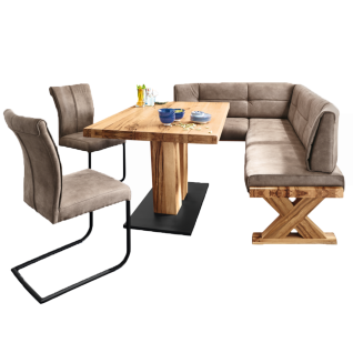 Niehoff Eckbankgruppe Alexa mit Tisch und 2 Schwingstühlen komplette Essgruppe ideal für Ihr Esszimmer