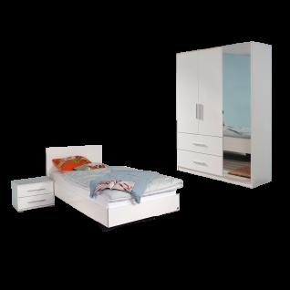 Rauch Packs Manja Jugendzimmer 3-teilig bestehend aus Bett Nachttisch mit 2 Schubkästen und 3-türigen Drehtürenschrank Farbausführung Hochglanz weiß / alpinweiß Liegefläche ca 120 x 200 cm optional mit Schreibtisch und Rollcontainer