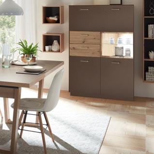 Mäusbacher Frame Highboard HB_221 für Ihr Wohnzimmer oder Esszimmer Anrichte mit zwei Türen zwei Schubkästen einem offenen Fach und einer Klappe Ausführung wählbar - Vorschau 3